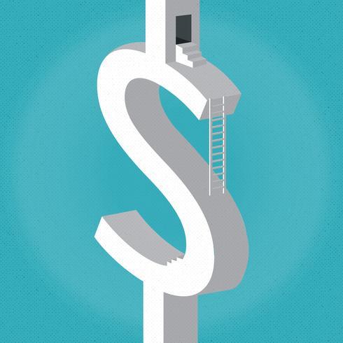 Signo de dólar con escalones y escaleras. Vector ilustración plana