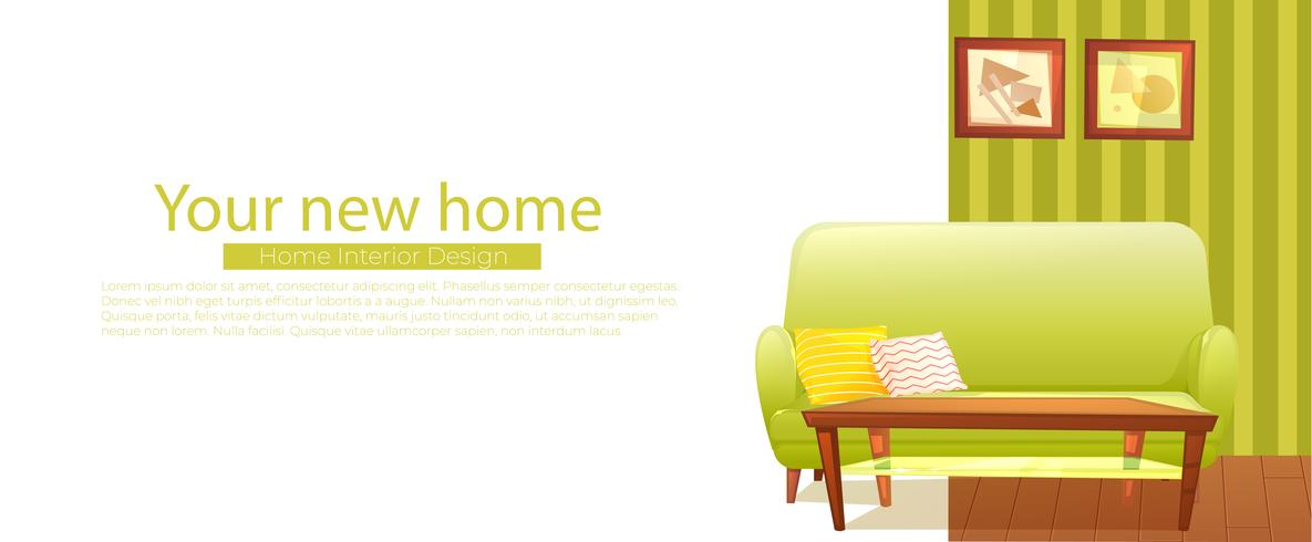 Uw nieuwe thuisbanner. Retro sofa en salontafel. Vector cartoon illustratie