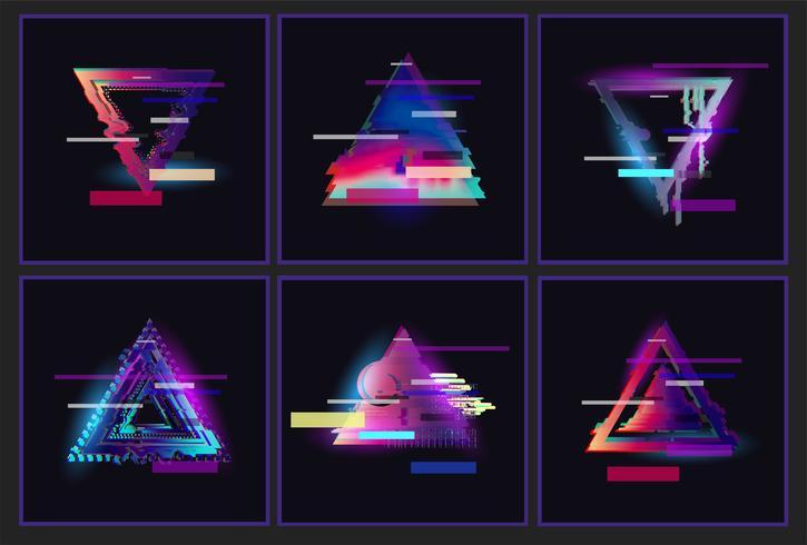 Conjunto de diseño de marco de triángulo glitched.