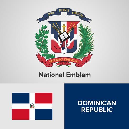 Emblema nazionale Repubblica Dominicana, mappa e bandiera