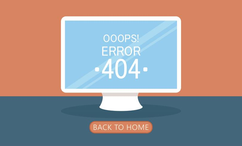 Ordinateur Page 404 introuvable. Illustration de plat Vector