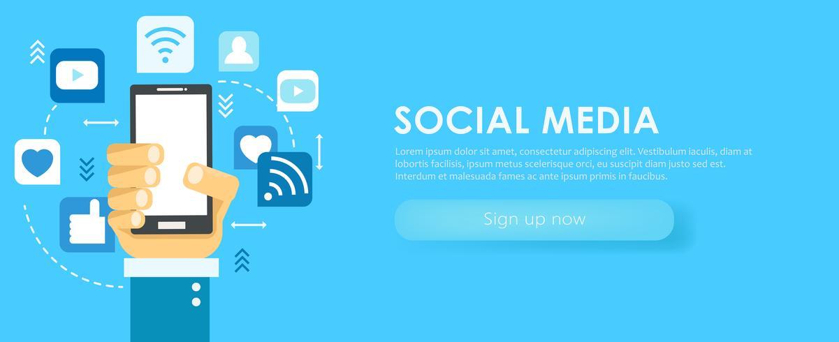 Banner de redes sociales. Teléfono con iconos. ilustración plana