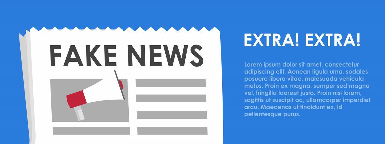 Fake banner de noticias. Fondo azul con periódico y altavoz. Vector ilustración plana
