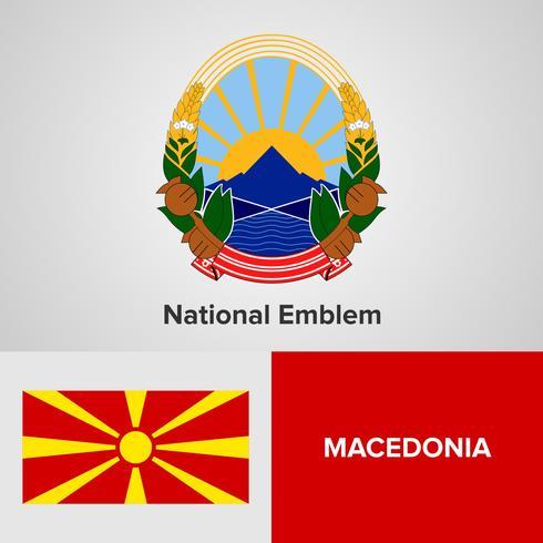 Macedonia emblema nacional, mapa y bandera