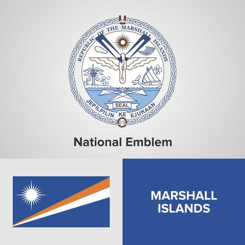 Islas Marshall emblema nacional, mapa y bandera