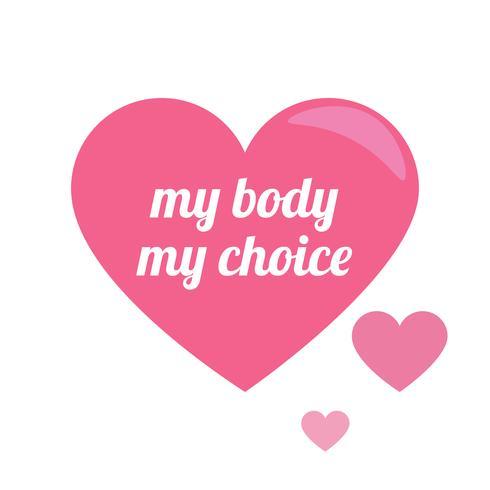 Mon corps mon choix. Le slogan du féminisme et du corps positif pour le t-shirt. Signe de Vénus Femme. Illustration de plat Vector