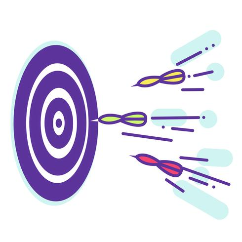 Darts. Fly to the target. Lineart. Vector Flat Illustration