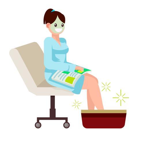 Mulher no salão spa, senta-se com uma revista. Massager do pé. Ilustração vetorial plana