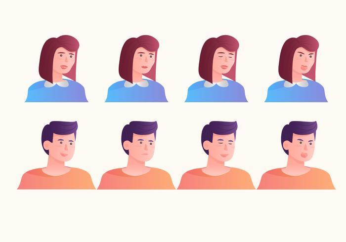 Avatars différents émotions de vecteur