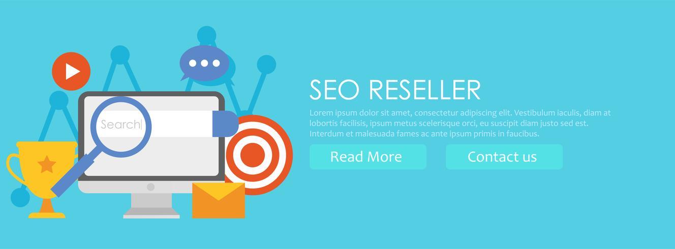 Banner de revendedor SEO. Ordenador personal con gráficos en aumento, optimización de búsqueda, objetivos y éxito. Vector ilustración plana