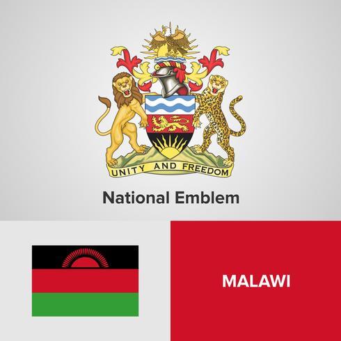 Emblème national du Malawi, carte et drapeau