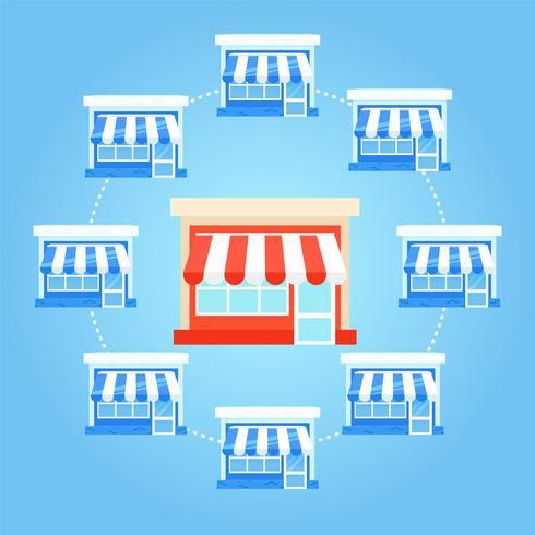 Franchise-banner. Winkelketen met een klaar businessplan. Platte vectorillustratie