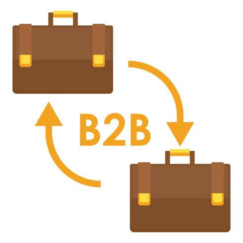 B2B-banderoll. Två affärsmäns väskor. Vektor platt illustration