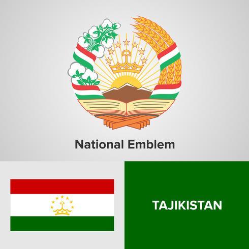Emblème national du Tadjikistan, carte et drapeau