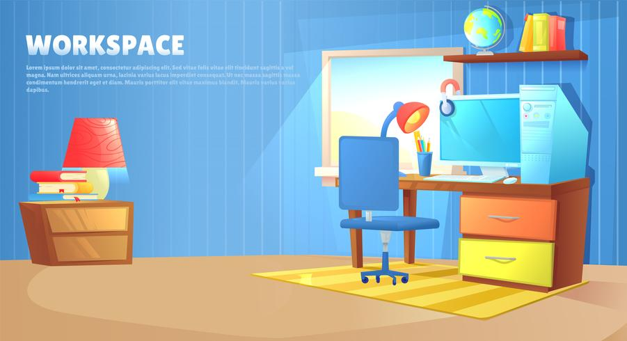 Teenager boy room interior design. Workplace with desk and pc computer, shelves and toys and book. Vector cartoon illustration