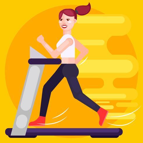 Die Frau läuft auf dem Laufband. Geschwindigkeit. Flache Illustration