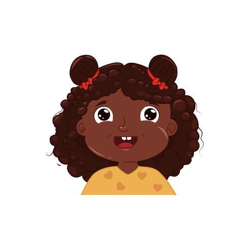 Petite fille à la peau sombre mignonne souriante. Heureuse émotion visage enfant afro-américain. Illustration de dessin animé de vecteur