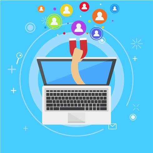 Bannière marketing d'influence. De l'ordinateur sort une main avec un aimant, appelant les utilisateurs. Illustration de plat Vector
