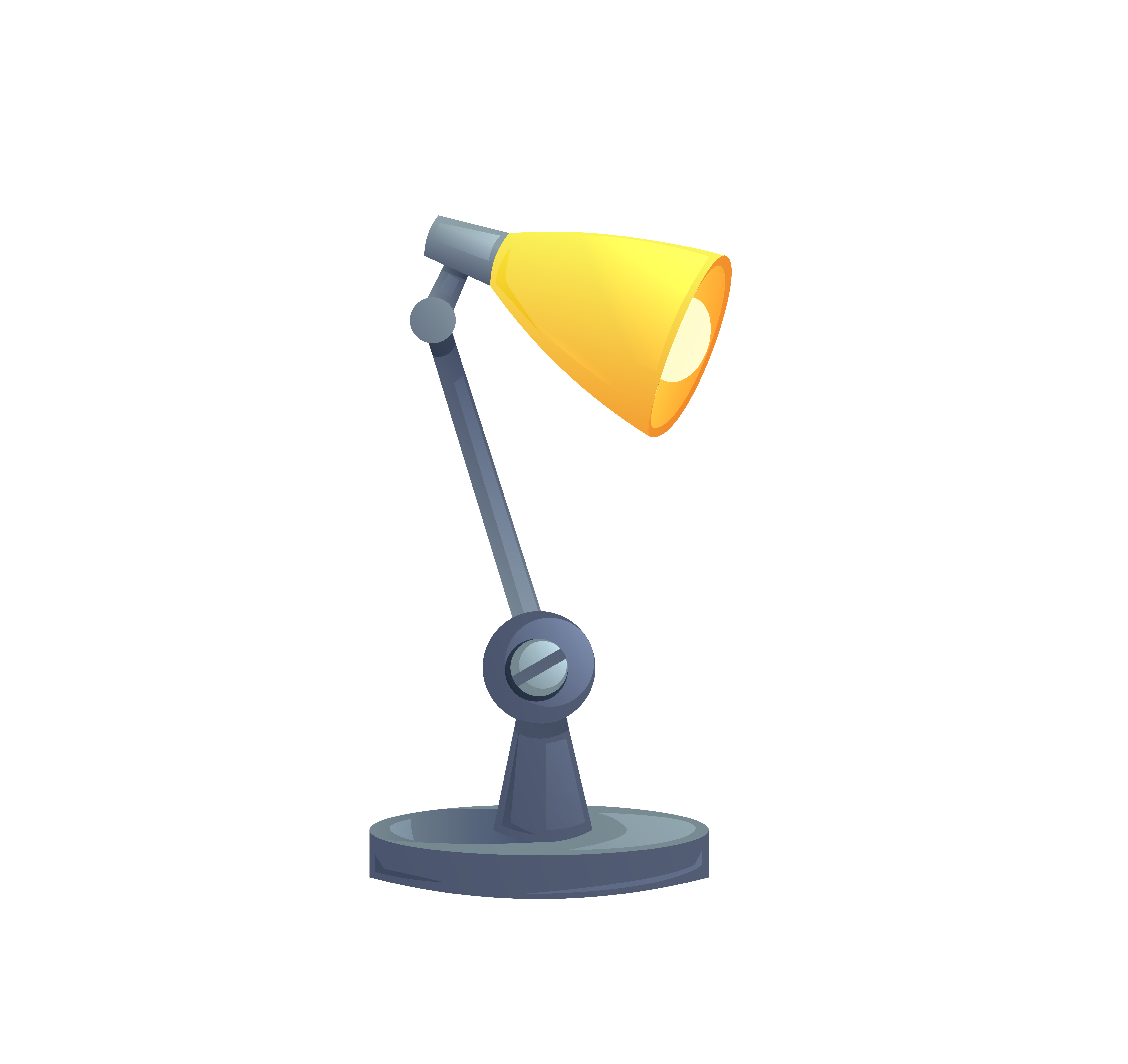 Table Office Lamp Isolated Vector Cartoon Illustration