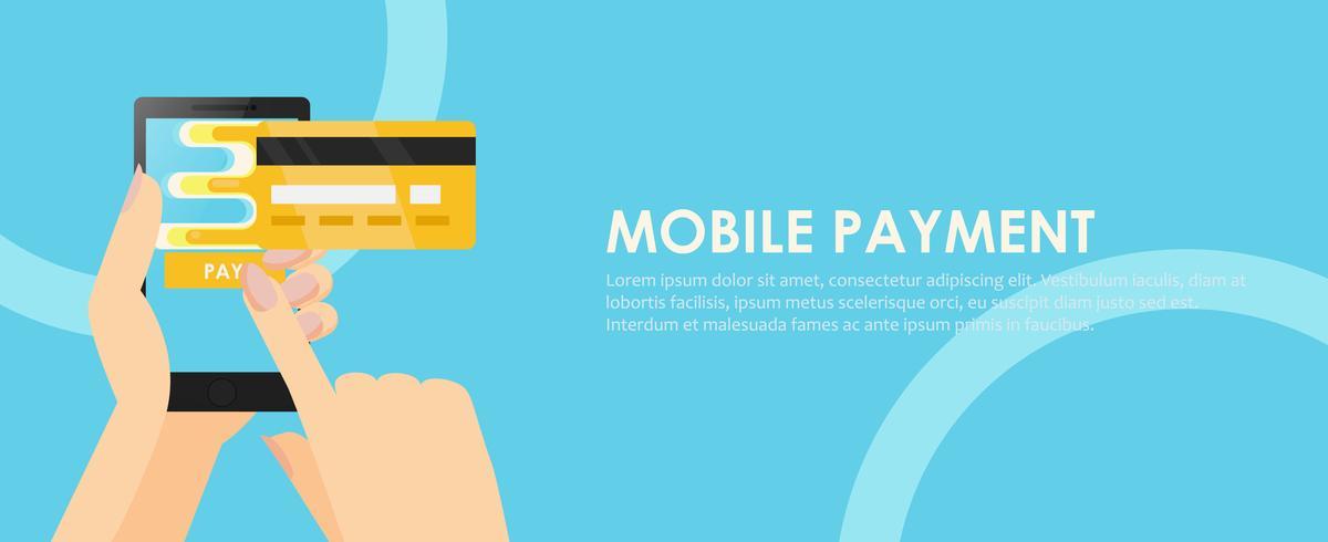 Telefoon in handen met een creditcard. Betaling online vanaf mobiel. Vector platte banner