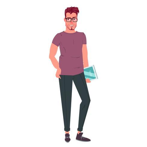 Il personaggio è un uomo d'affari si leva in piedi e guarda avanti. Vector cartoon illustrationIl personaggio è un uomo d'affari si leva in piedi e guarda avanti. Illustrazione di cartone animato vettoriale