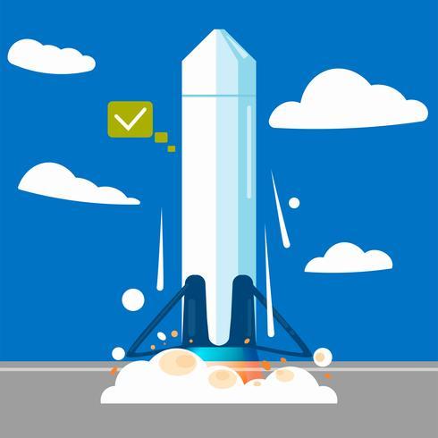 Lanzar un cohete en una estación. Vector ilustración plana