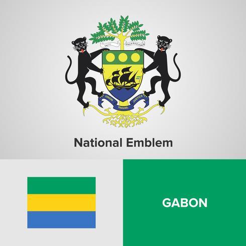 Emblema nacional de Gabón, mapa y bandera