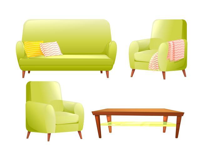 Conjunto de muebles de diseño. Sofá moderno y sillas con una manta, almohadas y al lado de una mesa de café de madera. Ilustración vectorial de dibujos animados vector