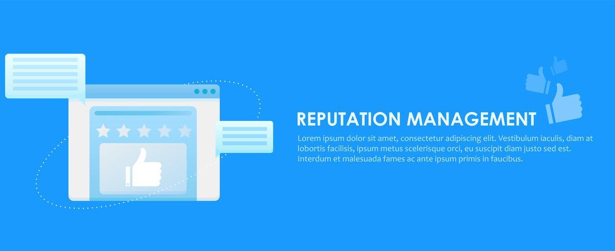 Banner de servicios de gestión de reputación de motores de búsqueda. Ventana del navegador con calificaciones, comentarios y comentarios de los usuarios del sitio. Vector gradiente plana