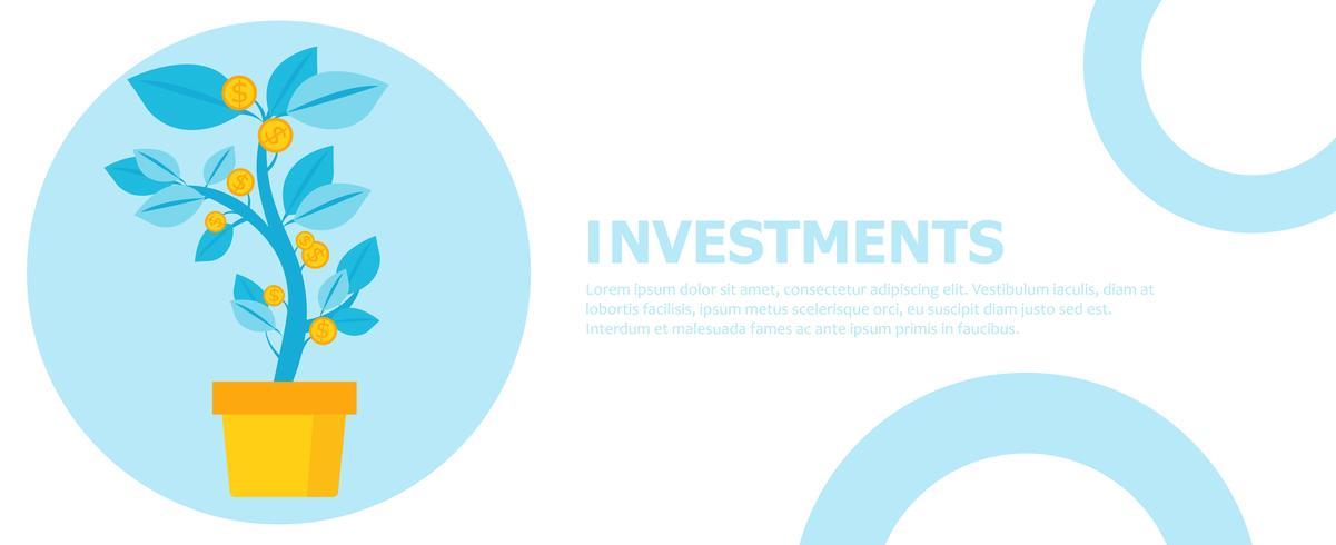 Banner de investimento. Árvore de dinheiro em uma panela. Planta em casa. Ilustração vetorial plana