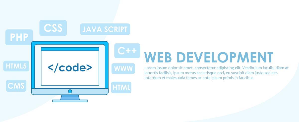 Banner de desarrollo web. Ordenador con ventana Un ordenador con ventana de navegador. Estudio de diferentes lenguajes de programación. Ilustración vectorial de línea plana.