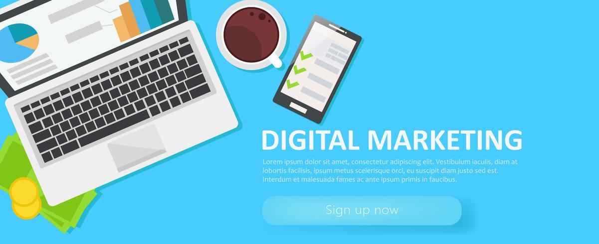 Banner de merketing digital. Lugar de trabajo con computadora portátil, café, papel, dinero, teléfono Vector ilustración plana