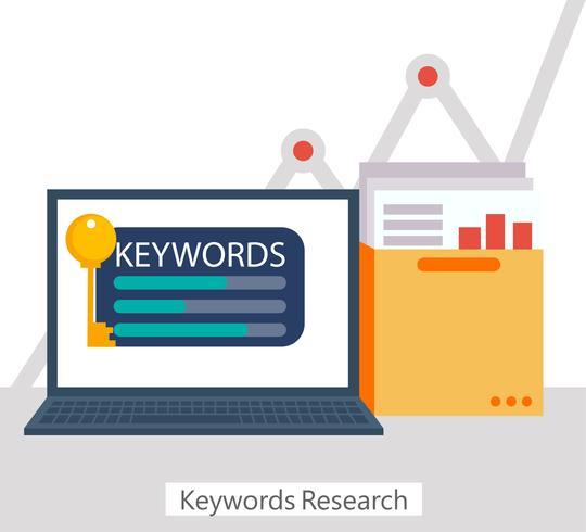 Palabras clave banner de investigación. Portátil con una carpeta de documentos y gráficos y llave. Vector ilustración plana