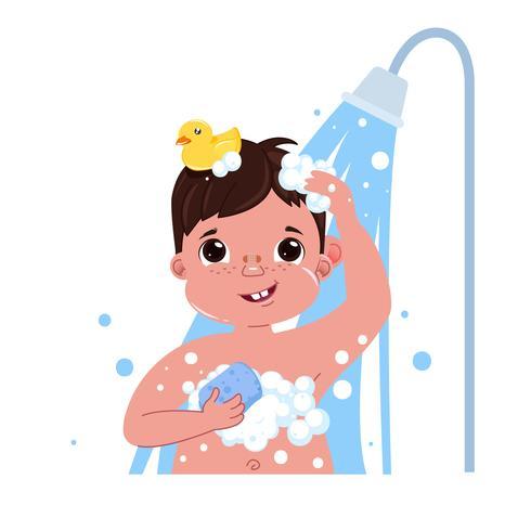 Weinig karakter van de kindjongen neemt een douche. Dagelijkse routine. Badkamer interieur achtergrond. Vector cartoon illustratie