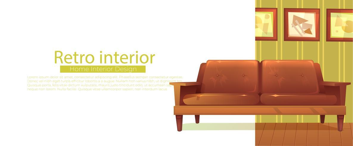 Votre nouvelle bannière d'accueil. Canapé rétro et table basse. Illustration de dessin animé de vecteur
