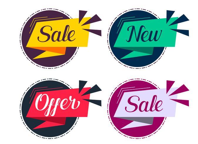 Elegante venta y oferta de conjunto de etiquetas.