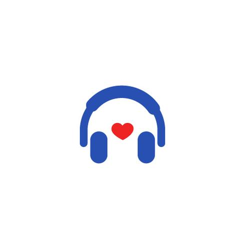 Logo with headphones. Love for music in headphone. Radio online vector gradient logotype