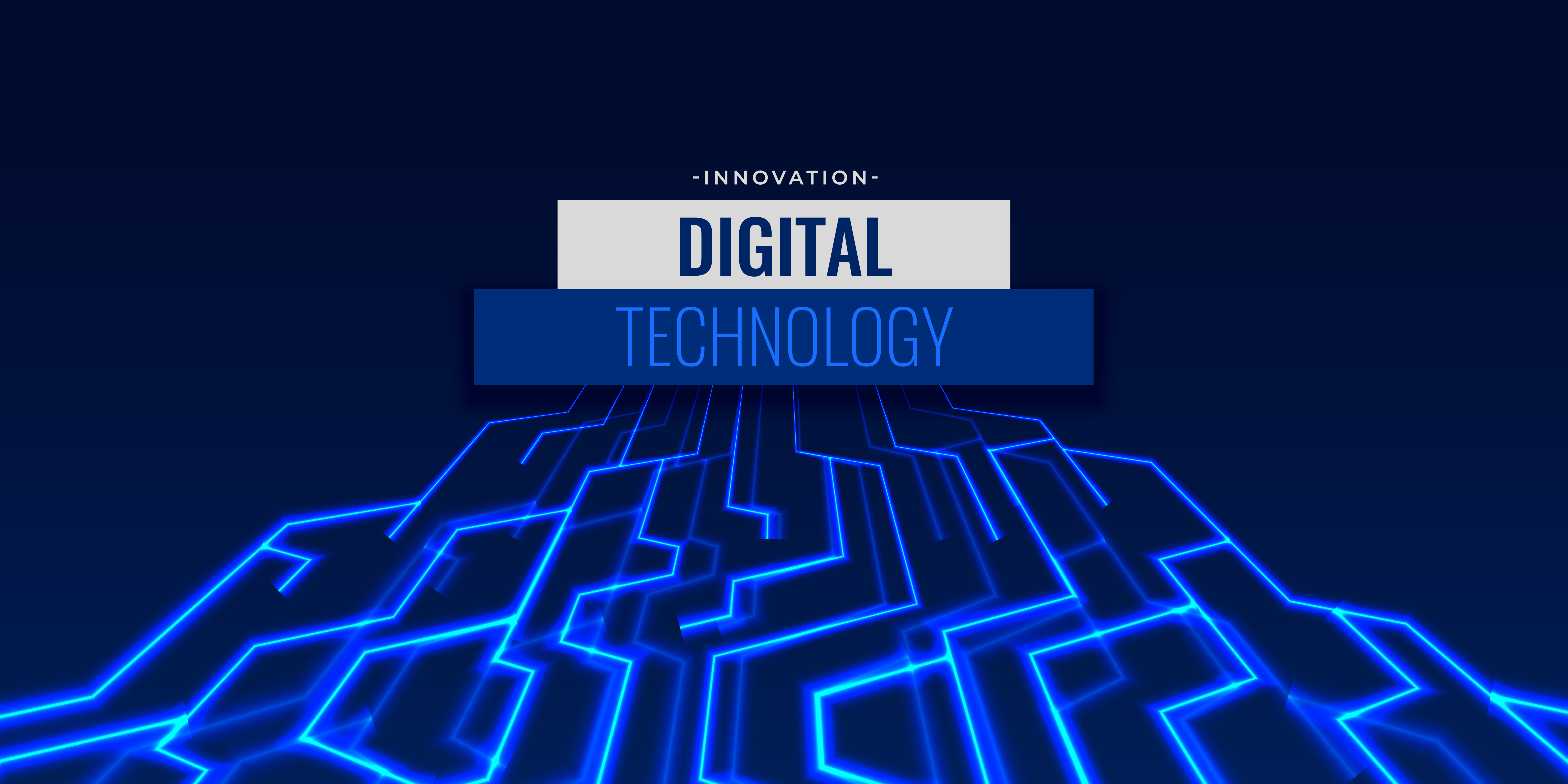 Digital Technology Background With Glowing Circuit Lines