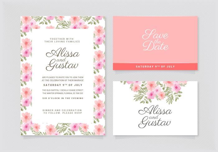 Vector Floral Wedding Invitation