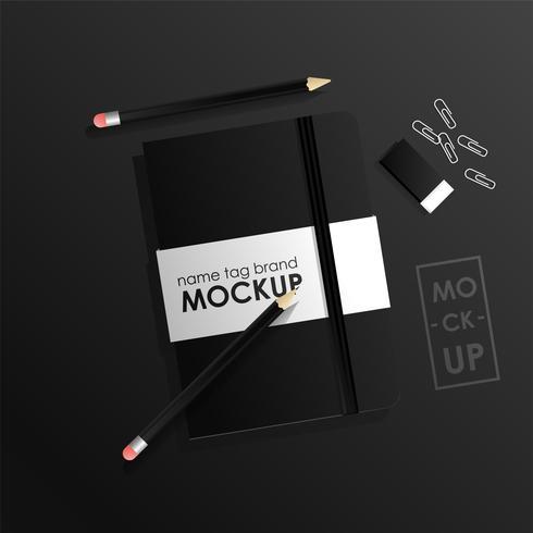 Ensemble de modèles de conception d'identité d'entreprise. Paquet de cahier et pecil. concept réaliste