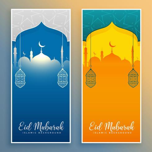 eid mubarak stylish banners with mosque and lantern