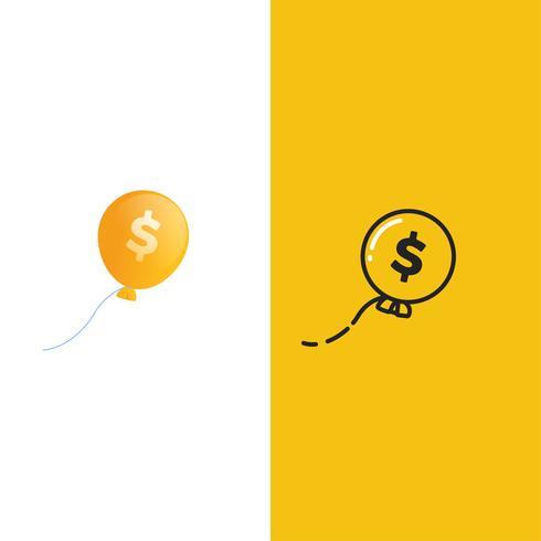 Logotipo de crescimento de dinheiro. Dólar da moeda com uma seta para cima logotipo. Taxas de câmbio.