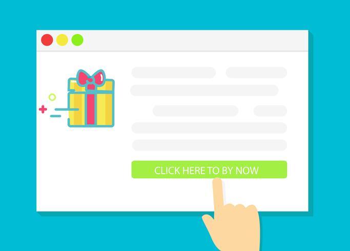 Achat de cadeaux en ligne. Illustration de plat Vector