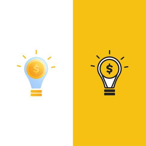 Smart money logo  Luminous light bulb with gold dollar coin