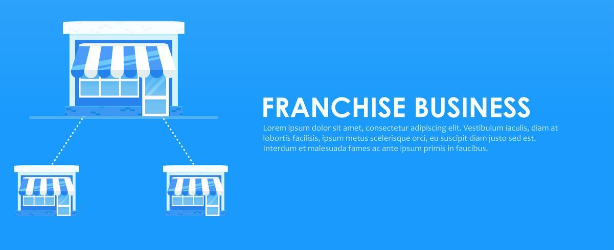 Banner de franquicia. Cadena de tiendas con un plan de negocios listo. Vector ilustración plana