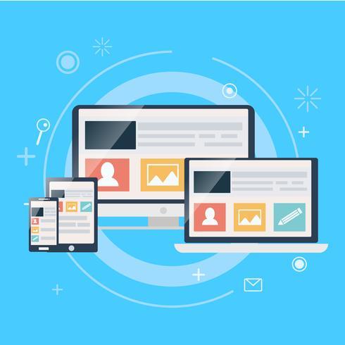 Conception Web réactive, y compris ordinateur portable, ordinateur de bureau, tablette et téléphone mobile. Illustration de plat Vector