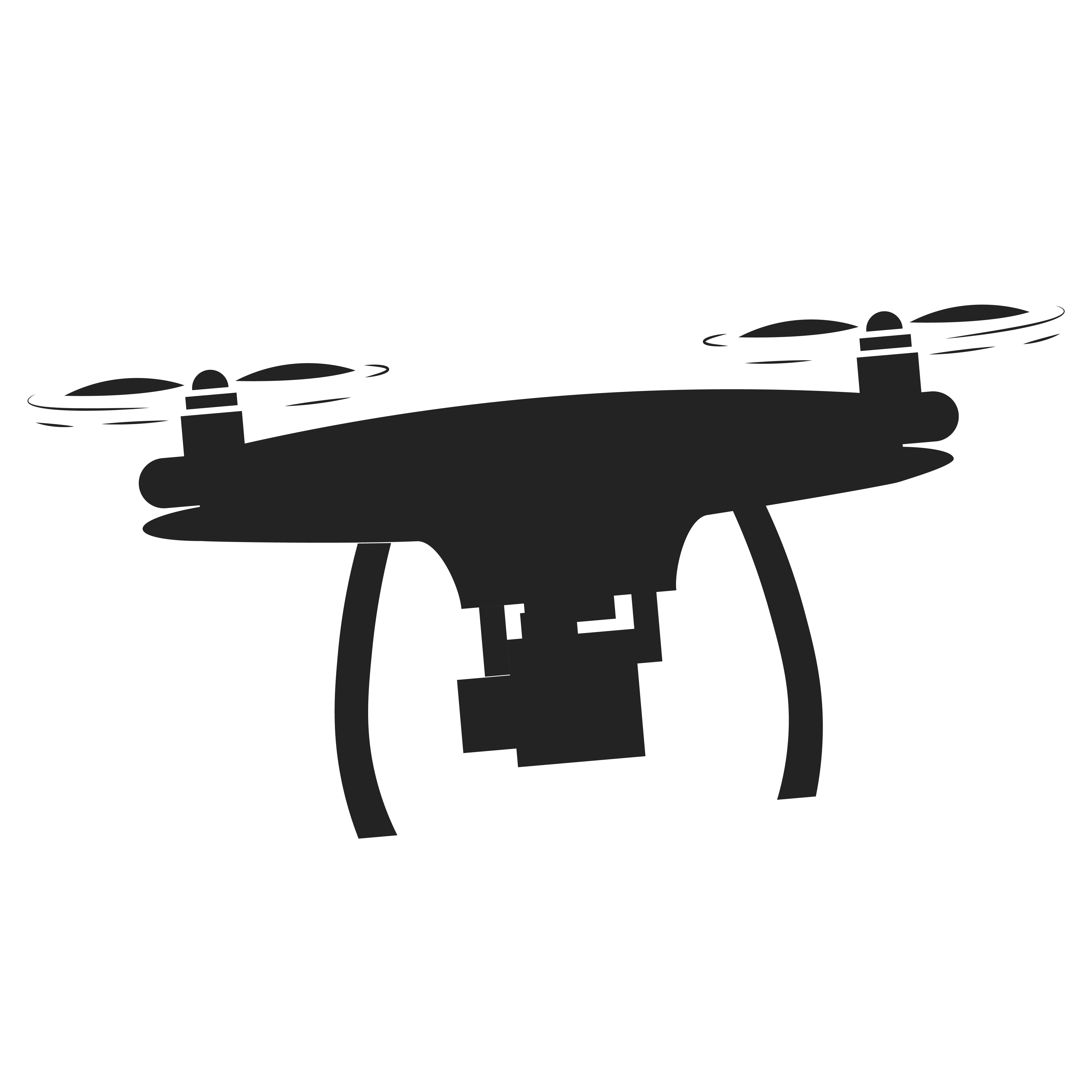 Pro Drone Logo Design: No Drone Zone Sign. No Fly Zone. Vector Flat Illustration