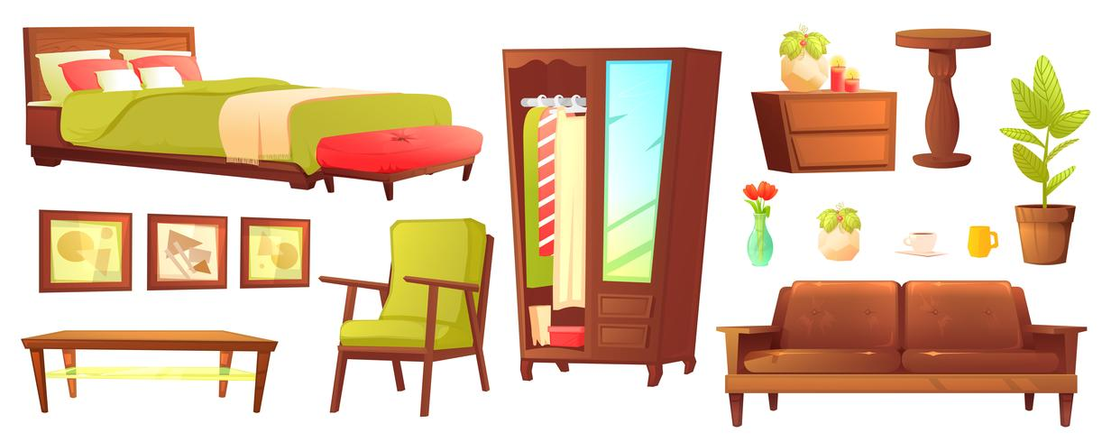 Conjunto de objetos de salón o dormitorio con sofá de cuero y estante de madera con marco y libros. Muebles de estilo - una lámpara y un jarrón y una mesa. Ilustración vectorial de dibujos animados vector