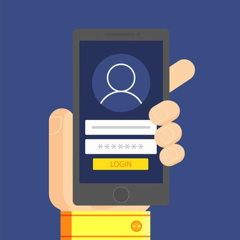 Entre para a conta, verificação na tela do telefone na mão do homem. Ilustração vetorial plana