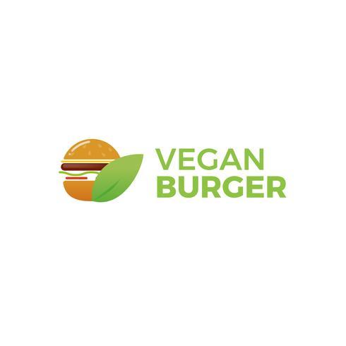 Hamburguesa ecológica vegana. Almuerzo vegetariano. Logotipo para restaurante o cafetería o comida rápida. Ilustración vectorial